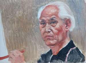 「杉本健吉」画伯肖像画。愛知県名古屋市に生まれ、洋画家としてはもちろん、図案家、挿絵画家としても活躍した県を代表する芸術家だ。